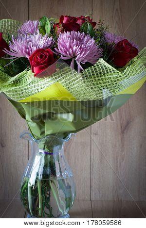 Colorful Vernal Flowers Bouquet Arrangement in Vase - Greeting Card