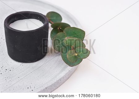 Candle in black stone holder on grey tray eucalyptus branch styled stock image for product and social media marketing mockup copyspace