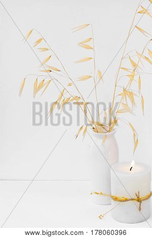 Dry oat twigs in ceramic vase burning candle on white background styled image for social media blogging product mockup