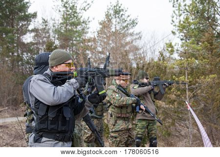 ESTONIA, APRIL 9, 2016: Unidentified people take part in the East-West Airsoft Game at the Humala abandoned rocket base.