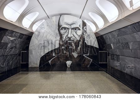 MOSCOW/ RUSSIA - MARCH 11, 2017. Metro station Dostoevskaya, opened 2010 in the center of Moscow, Russia