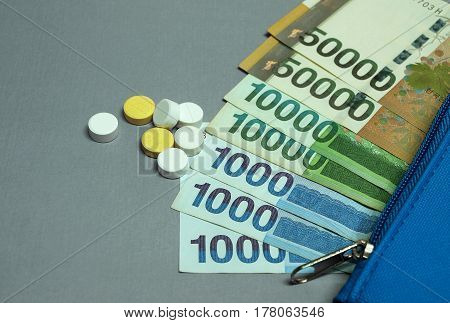 Wallet with korean won banknote and medical pills.