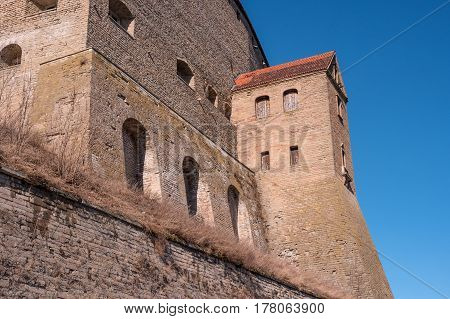 Narva, Estonia - Herman Castle on the banks of the river, opposite the Ivangorod fortress. Built by the Swedes in the 14th century. Close-up.