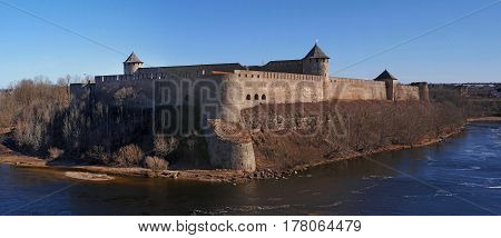 Ivangorod. ancient fortress at the border of Russia and Estonia. The Two Towers shares the Narva River.