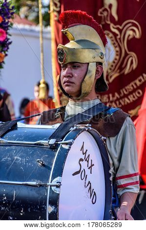 Antigua, Guatemala - March 19 2017: Local dressed up as a Roman in Lent procession in colonial town with most famous Holy Week celebrations in Latin America.