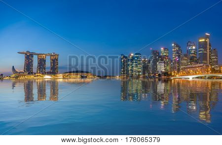 SINGAPORE CITY, SINGAPORE - FEBRUARY 10, 2017:  View Of Marina Bay sands at sunrise. Travel, Singapore on FEBRYARY 10, 2017