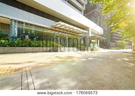 Entrance of modern office building Jalan Ampang Kuala Lumpur Malaysia .