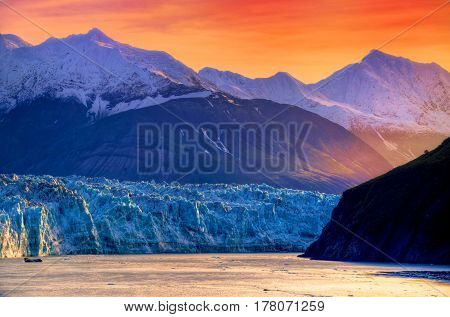 Photo of the Sunrise at Hubbard Glacier Alaska