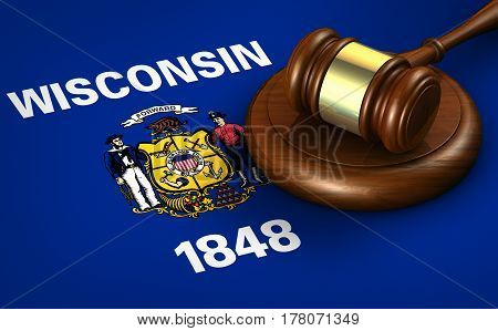 Wisconsin US state law legal system and justice concept with a 3D rendering of a gavel on Wisconsinite flag.