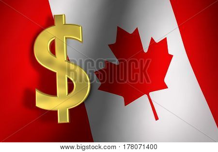 Canada economy concept with Canadian flag and golden dollar icon and symbol 3D illustration.
