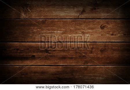 Dark wood background with grunge weathered and aged brown wooden texture.