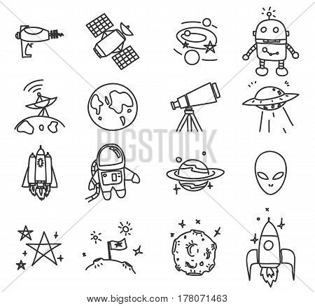 Space Icon Cute Hand Drawn Vector Set Art Illustration