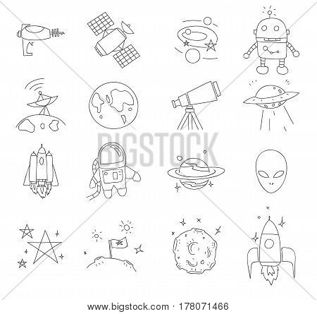 Space Thin Line Icon Cute Hand Drawn Vector Set Art Illustration