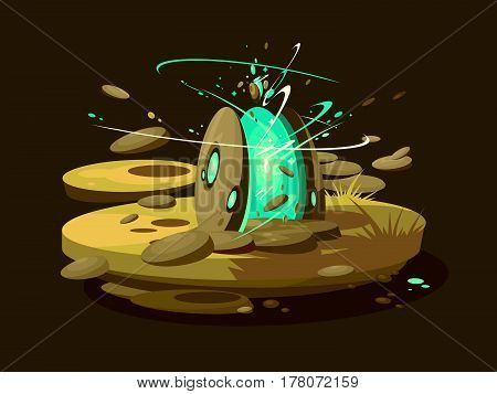 Fantastic portal to another world. Brightly sparkling virtual gates. Vector illustration