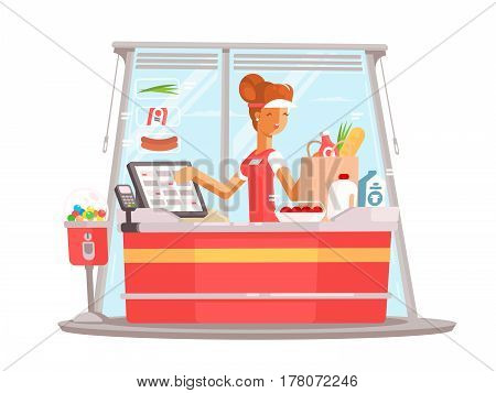 Young girl cashier. Supermarket worker in uniform. Vector flat illustration