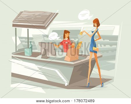 Cashier in supermarket at workplace. Girl pays for purchase at checkout counter. Vector illustration