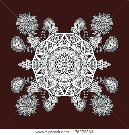 Classic vintage background. Classic vector pattern. Traditional orient ornament. On brown and white background with white elements. Vector illustration.
