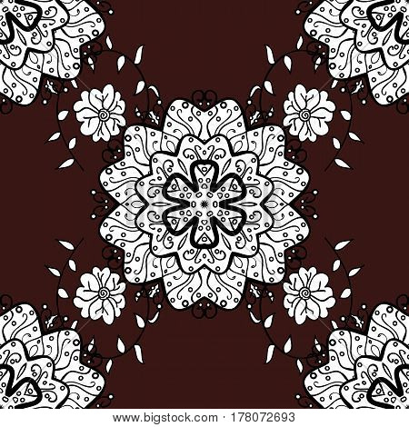 Abstract sketch wrapping decoration. White snowflake simple seamless pattern. Vector white pattern on brown background. Symbol of winter Merry Christmas holiday Happy New Year 2018.