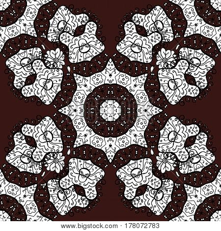 Classic vector white seamless pattern. Classic vintage background. Seamless pattern on brown background with white elements. Traditional orient ornament.