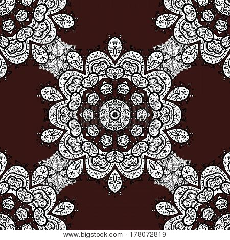 Vector. Oriental style arabesques. Seamless pattern on brown background with white elements. Brilliant lace stylized flowers paisley. Seamless white texture curls. Openwork delicate white pattern.