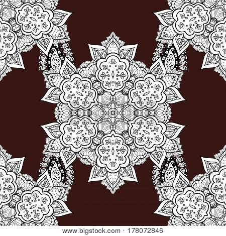 White floral ornament in baroque style. White element on brown background. Antique white repeatable sketch. Damask seamless pattern repeating background.
