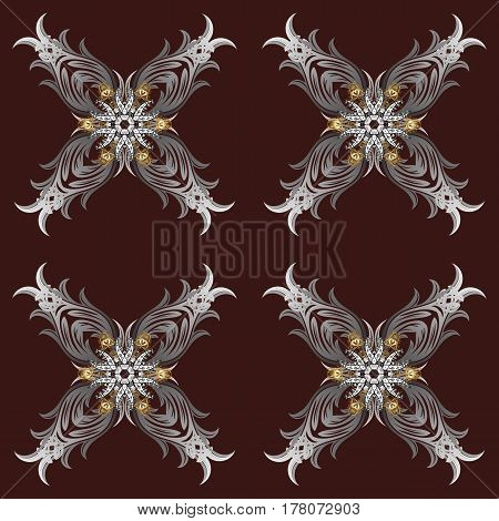Vector oriental ornament. Gray pattern on brown and gray background with doodles elements. Oriental ornament in the style of baroque. Traditional classic pattern.