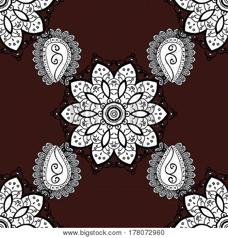 White on brown background. Vector illustration. Decorative symmetry arabesque. Seamless medieval floral royal pattern. Good for greeting card for birthday invitation or banner.
