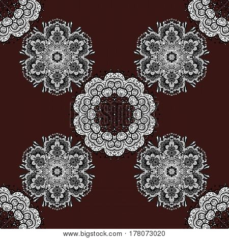 Traditional classic white vector pattern on brown background with white elements. Seamless oriental ornament in the style of baroque.