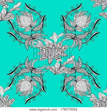 Traditional classic white vector pattern on blue background with white elements. Seamless oriental ornament in the style of baroque.