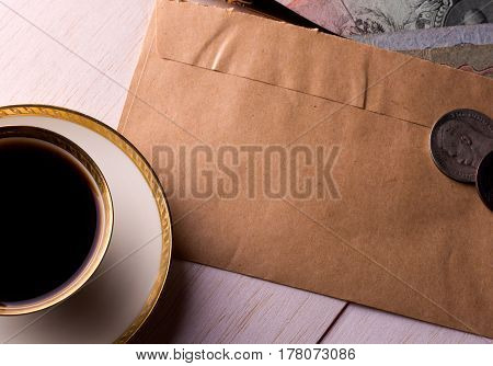 Breakfast, coffee and letter with some old money