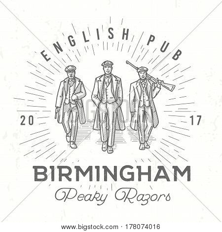 Retro peaky logo. Men in hats with blinders illustration. Gangsters vintage poster. English pub insignia. Birmingham gang vector design.