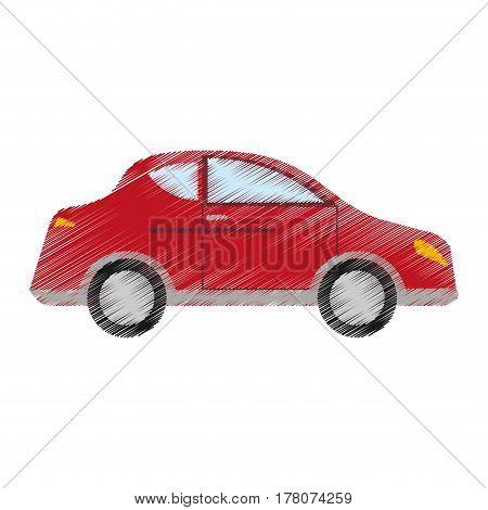 drawing red car sedan vehicle transport vector illustration eps 10