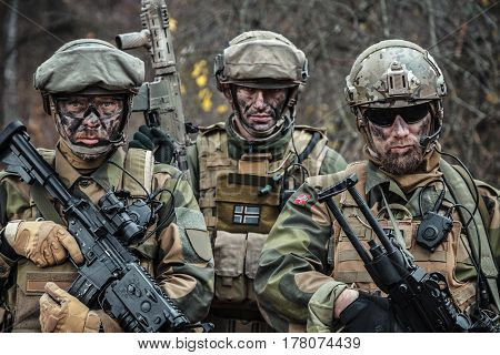 Norwegian Rapid reaction special forces FSK soldiers in field uniforms posing in the forest