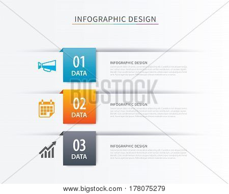 Business index infographics template with 3 data. Can be used for workflow layout diagram number options web design presentationstab.