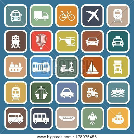 Transportation flat icons on blue background, stock vetor