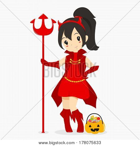 a girl wearing Halloween red devil costume and holding a trident, with a pumpkin bucket full of candies.