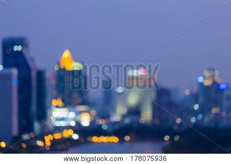 City blurred bokeh light night view abstract background