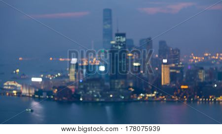Aerial view blurred bokeh Hong Kong city downtown abstract background
