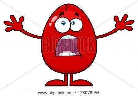 Scared Cracked Red Egg Cartoon Mascot Character With Open Arms. Illustration Isolated On White Background