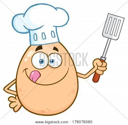 Chef Egg Cartoon Mascot Character Licking His Lips And Holding A Spatula. Illustration Isolated On White Background