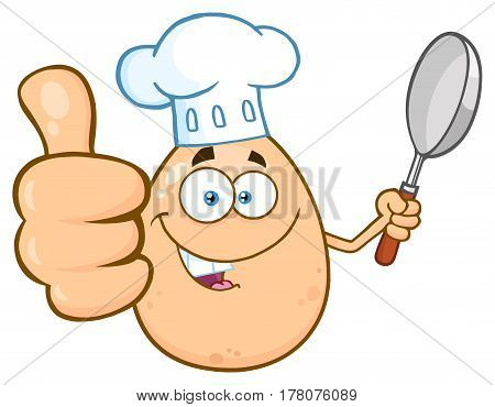 Chef Egg Cartoon Mascot Character Showing Thumbs Up And Holding A Frying Pan. Illustration Isolated On White Background