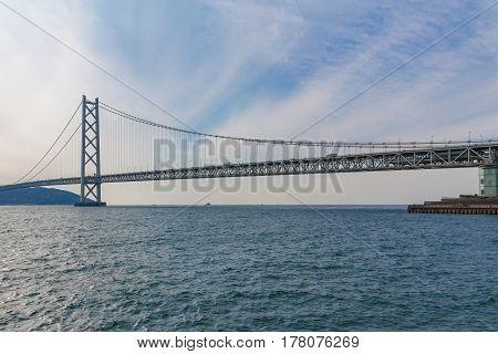 Akashi Kaikyo Bridge an the longest suspension bridge in Kobe sea port Japan