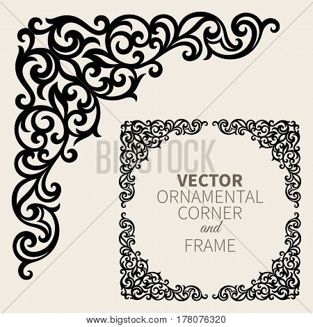 Floral frame border. Decorative design element and fancy page ornament. Vector illustration