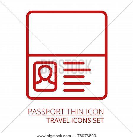 Passport icon thin line. illustration Part of travel icons set