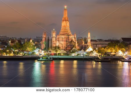 Arun temple watefront with reflection at night Thailand Landmark