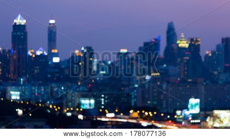 Night blurred bokeh city light abstract downtown background