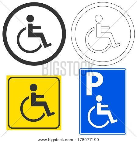 Sign of the disabled. Flat design vector illustration vector.