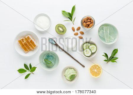 Herbal Dermatology Cosmetic Hygienic Cream For Beauty And Skincare Product. Honey, Lemon, Almond, Ki