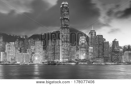 Black and White Hong Kong city business downtown cityscape background