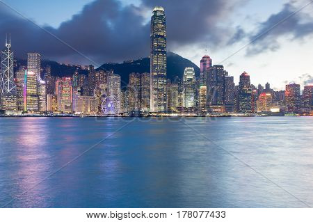 Twilight Hong Kong city central business downtonw cityscape background